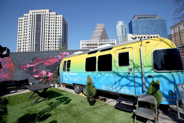 AUSTIN, TX - MARCH 13: The Samsung SmartThings Airstream is seen at The Samsung Studio at SXSW 2016 on March 13, 2016 in Austin, Texas. (Photo by Jonathan Leibson/Getty Images for Samsung)