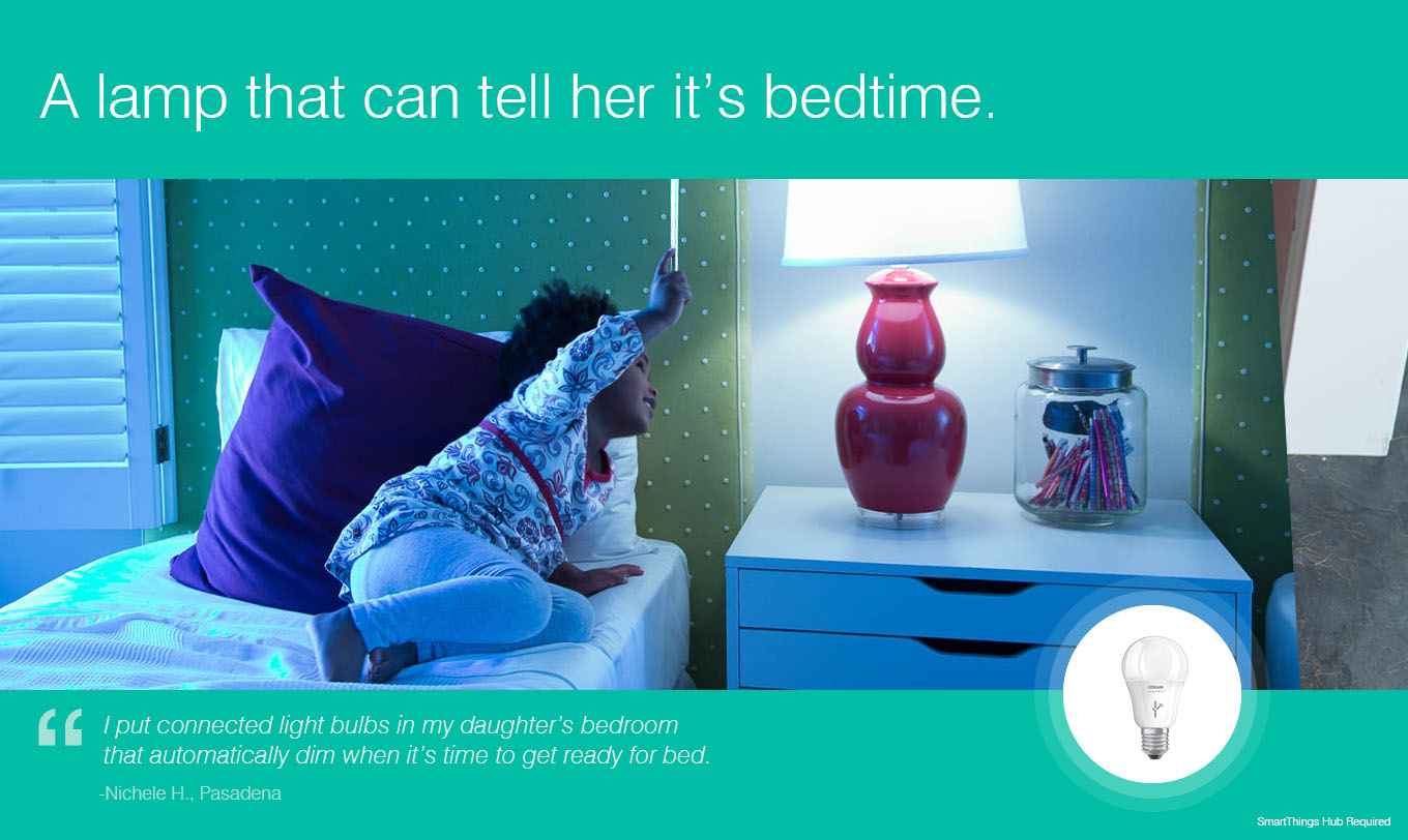 A lamp that can tell her it's bedtime
